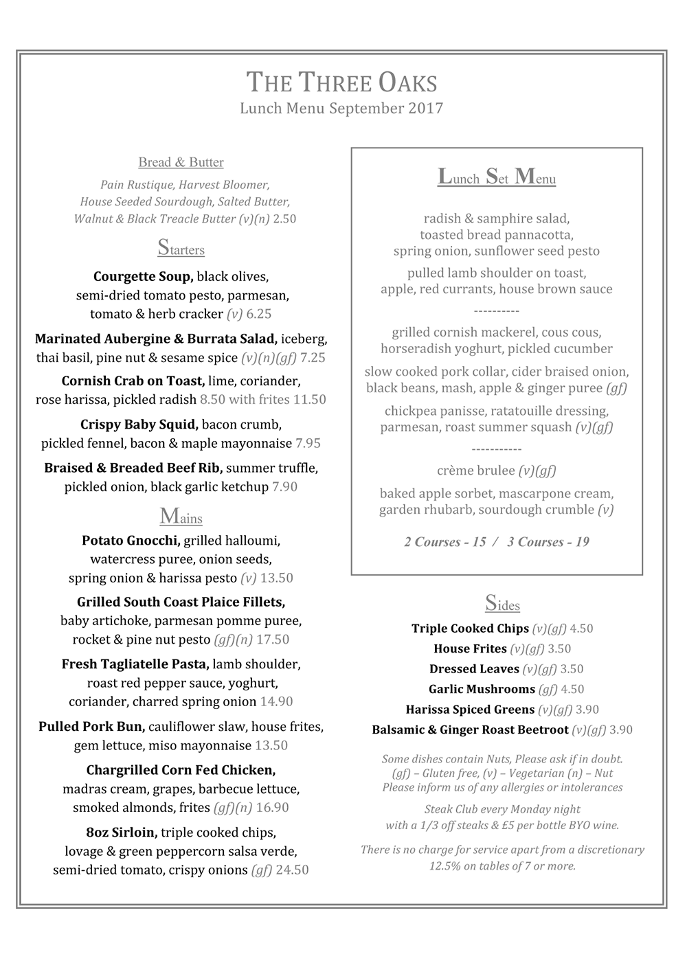 Sept 2017 Lunch Menu