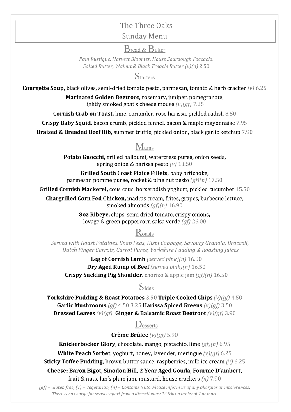 Sept 2017 Sunday Menu