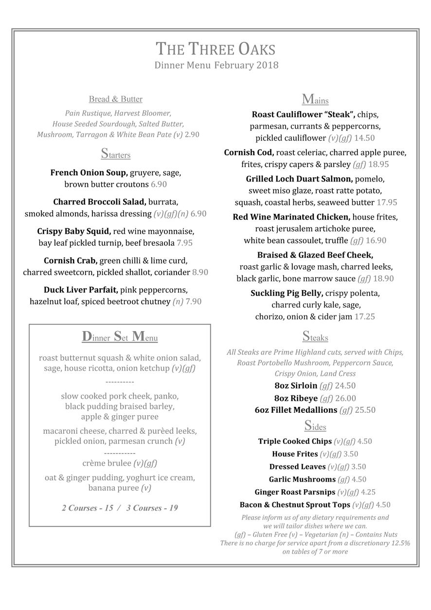 Feb weekday dinner menu 2